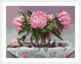 Vase Of Peonies Cross Stitch Kit By Luca S