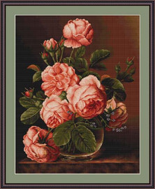 Vase Of Roses Cross Stitch Kit By Luca S