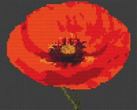 Single Poppy Flower Cross Stitch Kit