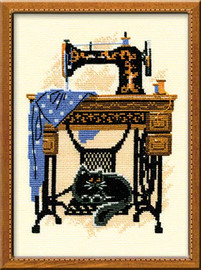 Cat With Sewing Machine Cross Stitch Kit