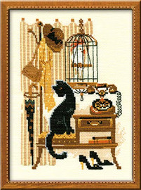 Cat With Telephone Cross Stitch Kit