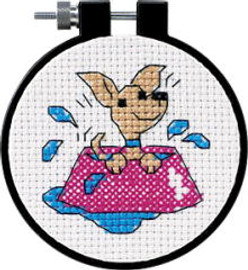 Perky Puppy Learn A Craft Counted Kids Cross Stitch Kit
