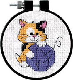 Cute Kitty Learn A Craft Counted Kids Cross Stitch Kit