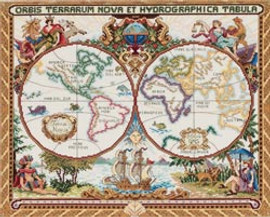 Olde World Map Cross Stitch Kit