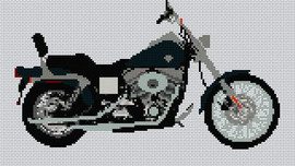 Harley Davidson Dyna Wide Glide Cross Stitch Kit By Stitchtastic