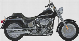 Harley Fat Boy 2003 Anniversay Model Cross Stitch Kit (Large) By Stitchtastic