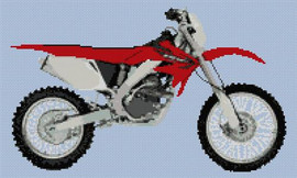 Honda Crf250X Motorbike Cross Stitch Kit By Stitchtastic
