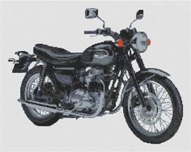 Kawasaki W650 Motorcycle Cross Stitch Kit By Stitchtastic