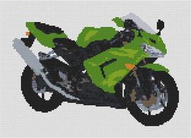Kawasaki Zx 10R Motorcycle Cross Stitch Kit By Stitchtastic
