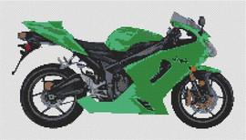 Kawasaki Zxr6 Ninja Motorcycle Cross Stitch Kit By Stitchtastic
