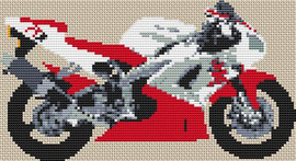 Yamaha R1 1998 Red Motor Bike Cross Stitch Pattern By Stitchtastic