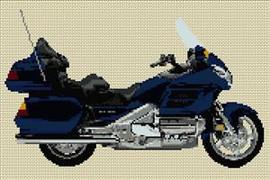 Honda Goldwing 2005 Blue Motorcycle Cross Stitch Kit