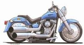Harley Davidson Fat Boy Caricature Cross Stitch Kit