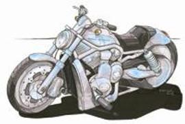 Harley Davidson V Rod Caricature Cross Stitch Kit