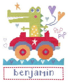 Croc In Car Cross Stitch Kit By Stitching Shed