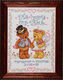 Two Hearts Wedding Sampler Cross Stitch Kit By Design Works
