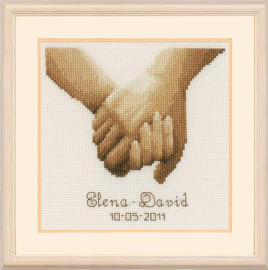 Holding Hands Wedding Sampler Sepia Cross Stitch Kit