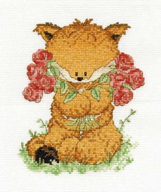 Toby Fox With Roses Cross Stitch Kit