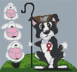 Border Collie Dog Caricature Cross Stitch Chart