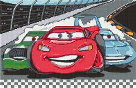 Cars Red Nascar Cross Stitch Chart