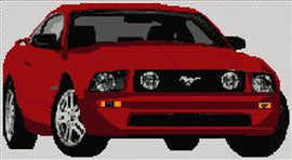Ford Mustang Car 2005 Cross Stitch Pattern