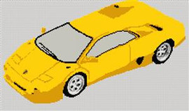 Lamborghini Diablo Roadster Cross Stitch Chart