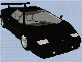 Lamborgini Countach 25Th Anniversary 88-89 Roadster Cross Stitch Chart