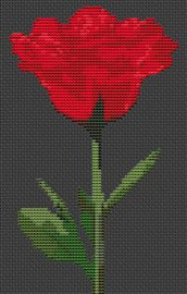Red Rose Flower Cross Stitch Chart