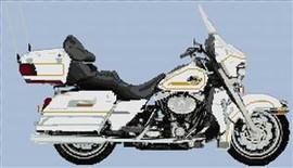 2007 Harley-Davidson Flhtcu Ultra Classic Electra Glide Cross Stitch Chart White With Gold Pinstripe
