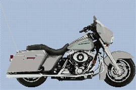 Harley Davidson Limited Edition Platinum Street Glide Cross Stitch Chart
