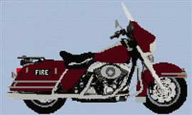Harley Davidson Road King Fire Motorcycle Cross Stitch Chart