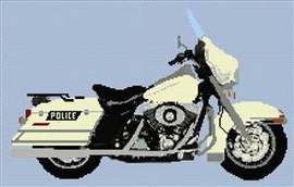 Harley Davidson Road King Police Motorcycle Cross Stitch Chart