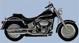 Harley Fat Boy 2003 Anniversay Model Cross Stitch Chart (Large)