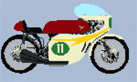 Honda 250 Gp Racer 1966 Motorcycle Cross Stitch Chart