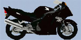 Honda Cbr 1100Xx Superblackbird Motorcycle Cross Stitch Chart