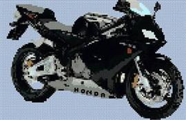 Honda Cbr Black Motorcycle Cross Stitch Chart