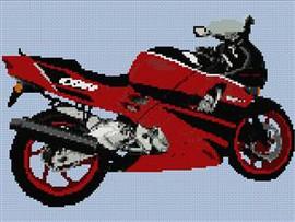Honda Cbr Red Motorcycle Cross Stitch Chart
