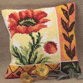Coquelicot Nouveau Chunky Cross Stitch Cushion Kit
