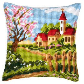 Country Church Chunky Cross Stitch Cushion