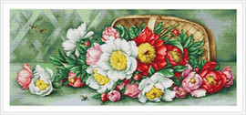 Overturned Basket With Peonies Petit Cross Stitch Kit By Luca S