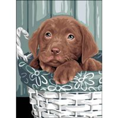 Puppy in Basket Tapestry Canvas By Royal Paris