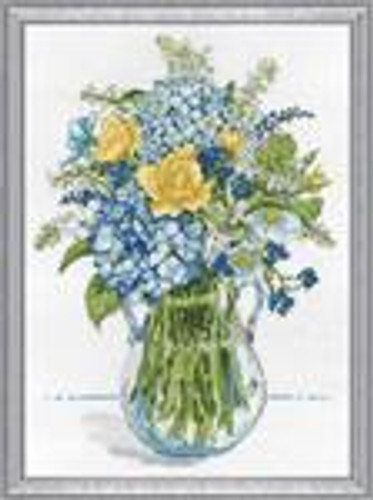 Blue and Yellow Floral Cross Stitch Kit by Design Works