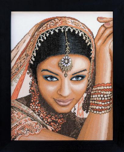 Indian Model Cross Stitch Kit by Lanarte