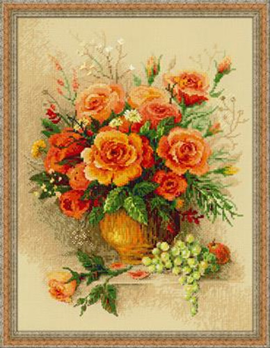 Tea Roses Cross Stitch Kit by Riolis
