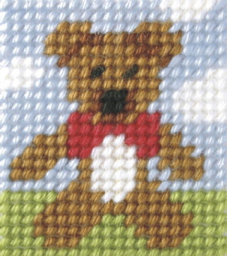 My first Embroidery Mini Needlepoint kit Teddy By Orchidea