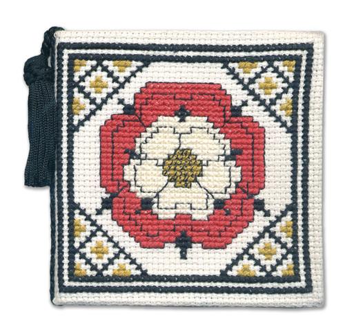 Tudor Rose Needle Case Cross Stitch Kit by Textile Heritage