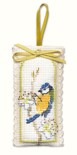 Bluetit Sachet Cross Stitch Kit by Textile Heritage