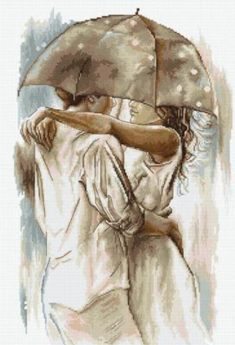 Couple Under an Umbrella Cross Stitch Kit by Luca-S