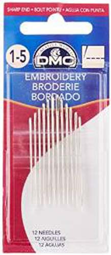 DMC 1765-1 Embroidery Hand Needles, 12-Pack, Size 1-5