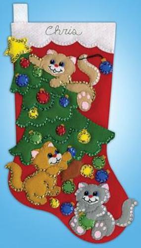 Decorating Kittens Stocking Felt Kit by Design Works